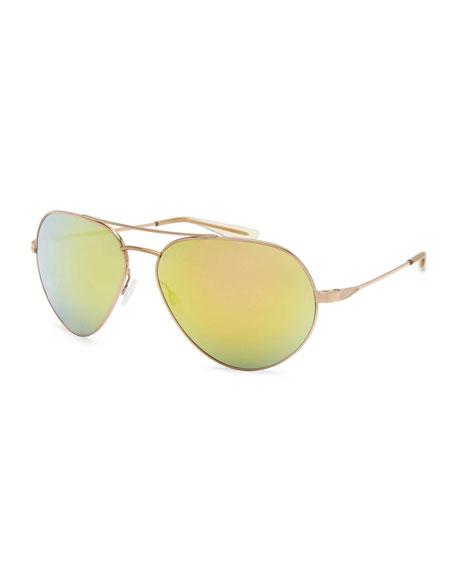 Barton Perreira Commodore Mirrored Aviator Sunglasses, Gold/Egyptian