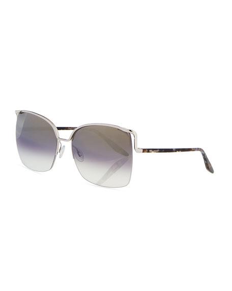 Barton Perreira Satdha Semi-Rimless Square Sunglasses, Gray