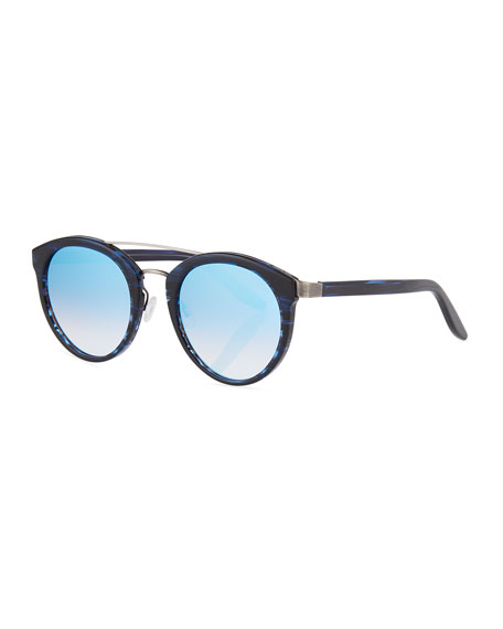 Dalziel Round Universal-Fit Sunglasses, Midnight/Pewter/Arctic Blue
