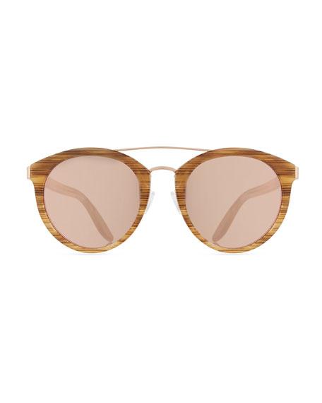 Dalziel Round Universal-Fit Sunglasses, Horn/Rose Gold/Lavender