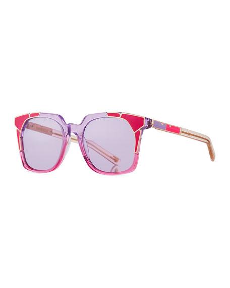 Tutti & Fruity Square Sunglasses w/ Resin Inlay