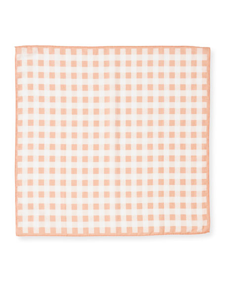 Gingham-Print Small Square Bandana Scarf