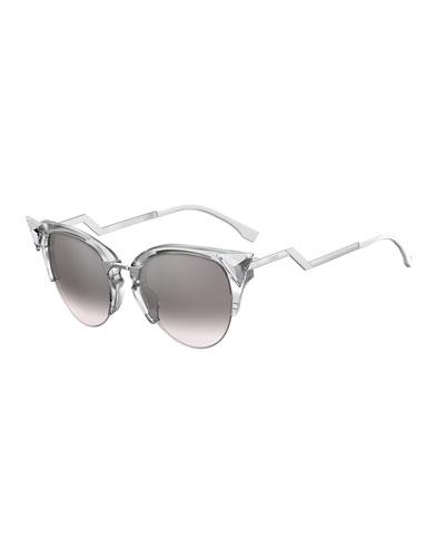 Iridia Cat-Eye Crystal-Tip Sunglasses, Gray
