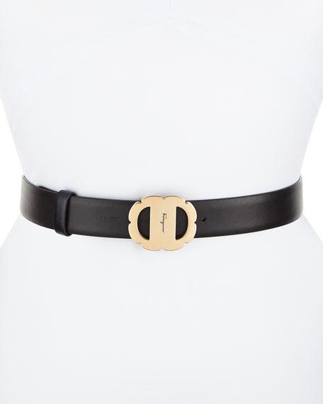 Vara Flower Buckle Reversible Leather Belt