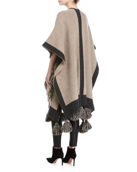 Fringed Wool-Cashmere Poncho Sweater, Beige