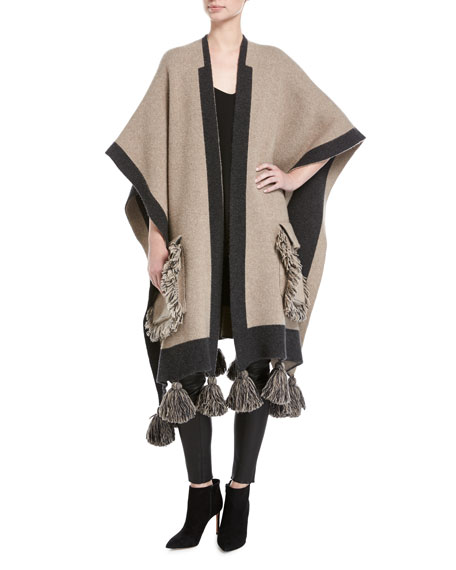 Alanui Fringed Wool-Cashmere Poncho Sweater, Beige