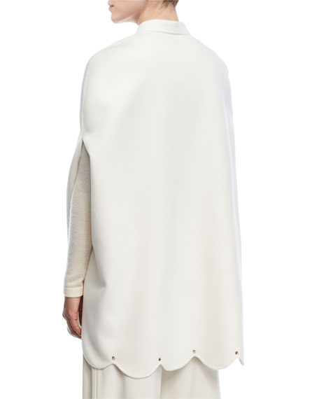 Scalloped Rockstud Virgin Wool-Cashmere Cape