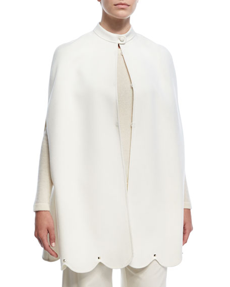 Valentino Scalloped Rockstud Virgin Wool-Cashmere Cape