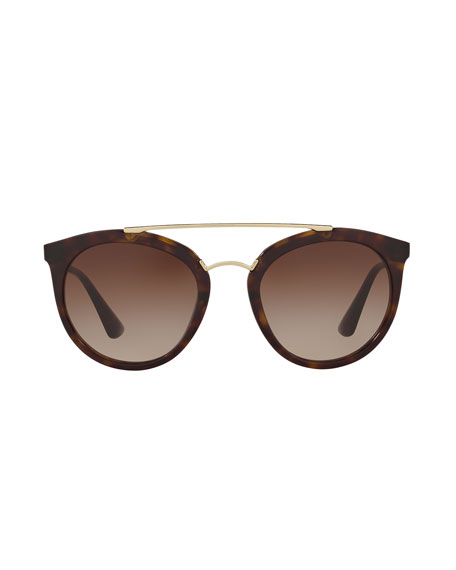 Round Brow-Bar Sunglasses
