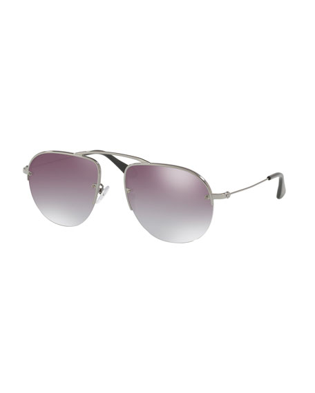 Prada Metal Modified Aviator Sunglasses