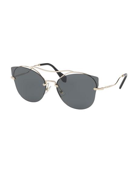 Scenique Rimless Monochromatic Brow-Bar Sunglasses, Light Gold