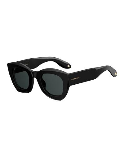 Square Monochromatic Sunglasses, Black