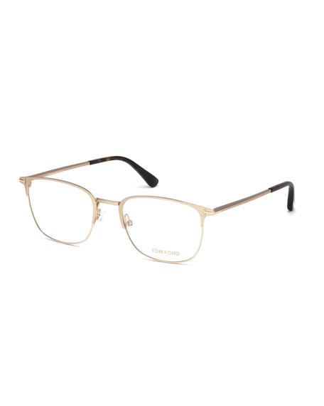 TOM FORD Square Metal Optical Frames, Rose Gold