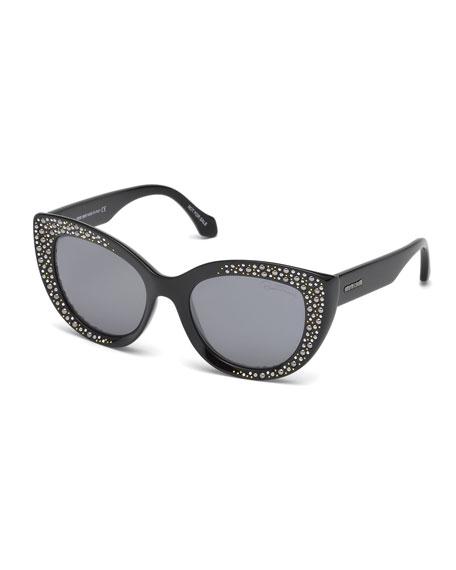 Roberto Cavalli Studded Gradient Cat-Eye Sunglasses, Black