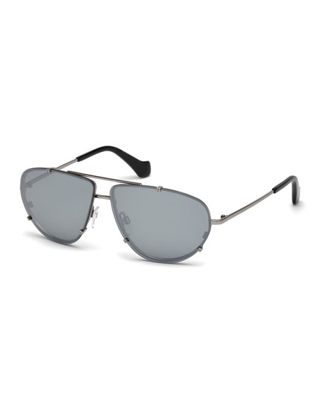 Balenciaga Metal Aviator Sunglasses, Gray