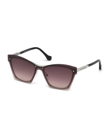 Balenciaga Squared Cat-Eye Overlay Sunglasses, Pink