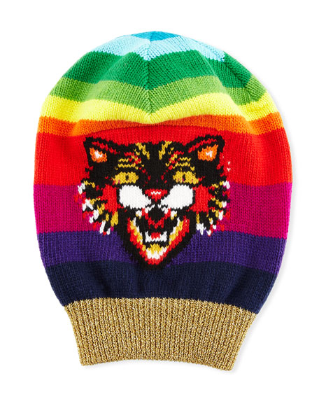 Wool Beanie Hat With Angry Cat Motif, Multi