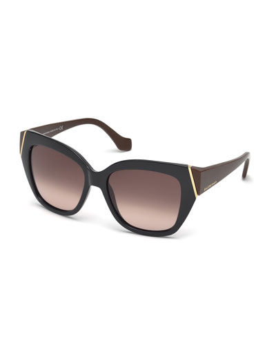 Plastic Two-Tone Cat-Eye Sunglasses, Dark Navy/Brown