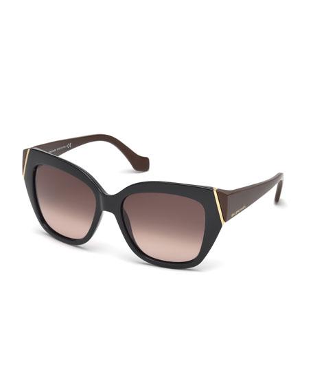Plastic Two-Tone Cat-Eye Sunglasses, Dark Navy/Brown