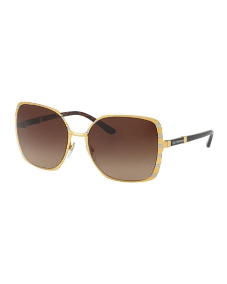 Striped Square Metal Sunglasses