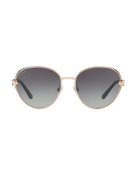 Serpenti Round Open-Inset Sunglasses, Gold/Black