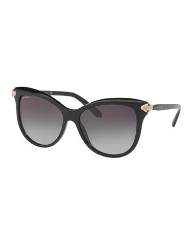 Serpenti Gradient Square Sunglasses, Black
