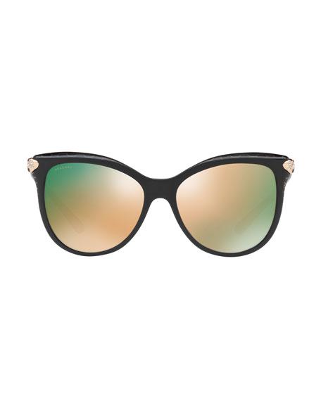 93e3967d202e0 BVLGARI Serpenti Mirrored Iridescent Square Sunglasses