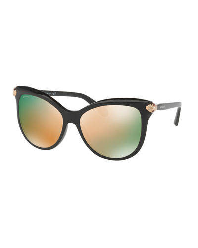 Serpenti Mirrored Iridescent Square Sunglasses, Black
