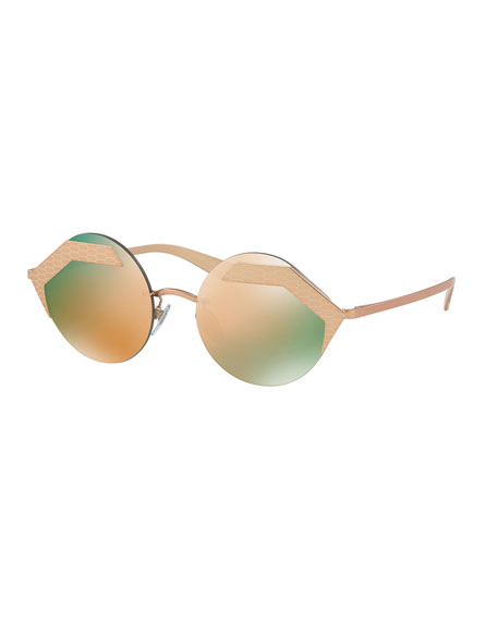 Serpenti Rimless Round Sunglasses, Yellow/Pink