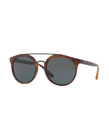 Round Embossed Double-Bridge Sunglasses, Brown Havana