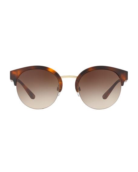 Check-Temple Half-Rim Sunglasses