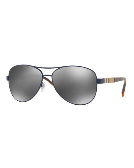 Mirrored Steel Aviator Sunglasses