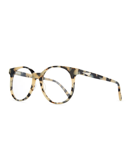 Prism London Round Optical Frames, White Tortoise