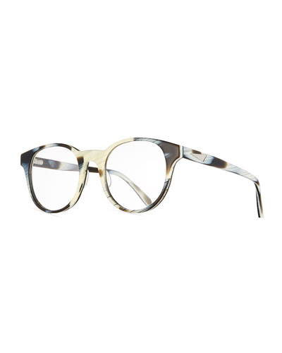 Paris Round Optical Frames, Black/White Horn