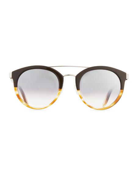 Dalziel Round Universal-Fit Sunglasses, Brow/Havana