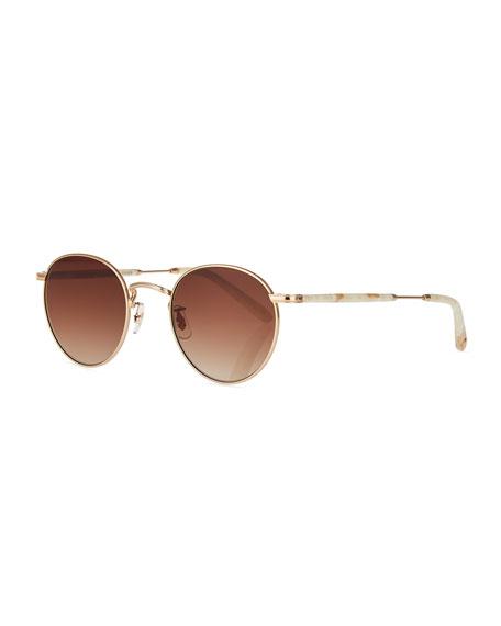 Garrett Leight Wilson Round Gradient Sunglasses, Desert Taupe