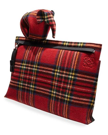 Plaid Elephant Bag Charm/Coin Purse, Red