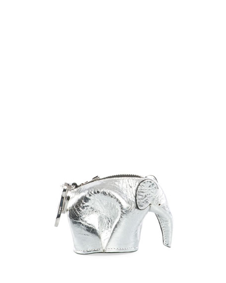 Elephant Bag Charm/Coin Purse, Gray Metallic