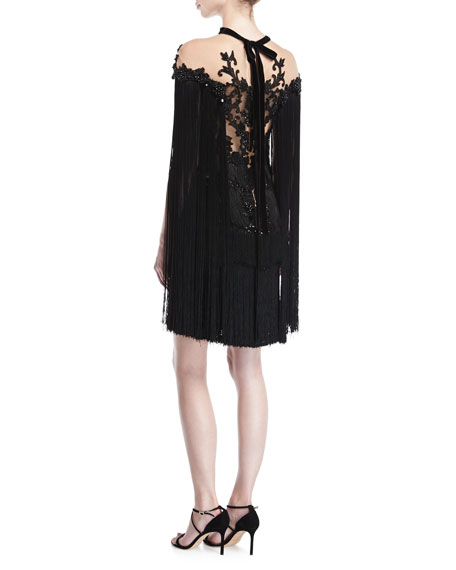 Embroidered Cape-Sleeve Cocktail Dress