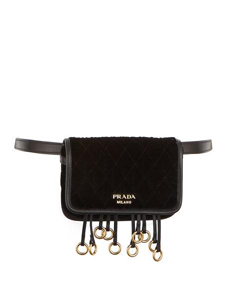 1a8c0d8d1f7c Prada Quilted Velvet Belt Bag   Crossbody Chain