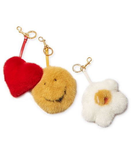 Tassel Heart Bag Charm In Mink Fur, Red