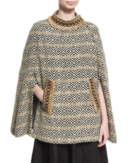 Anushka Merino Wool Jacquard Poncho Cape