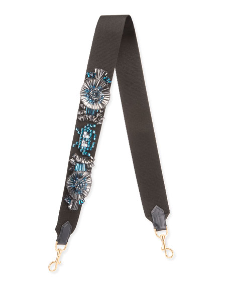Space Invader™ Embellished Shoulder Strap for Handbag, Black