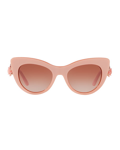 Flowers Lace Gradient Cat-Eye Sunglasses