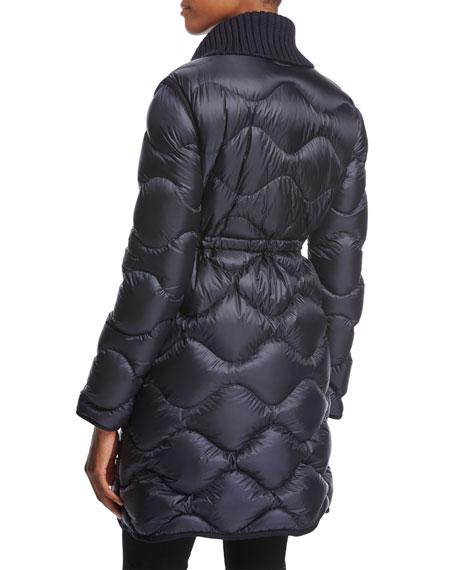 Dianthus Wool-Knit Cape W/ Puffer Jacket