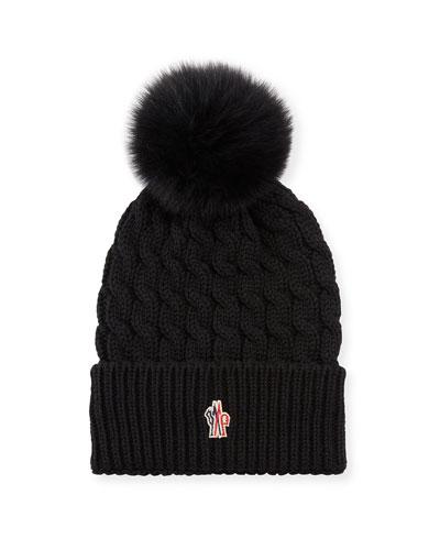 Berretto Knit Hat w/ Fur Pompom