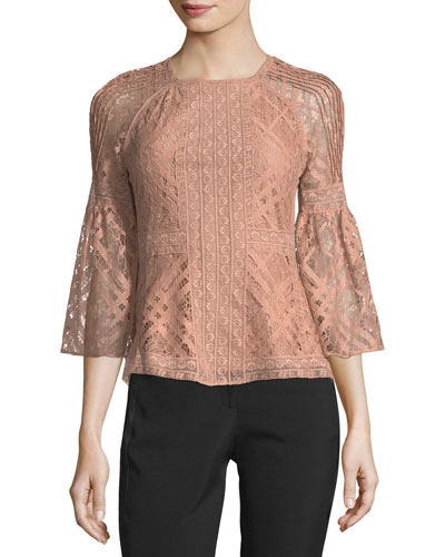 Bell-Sleeve Lace Blouse