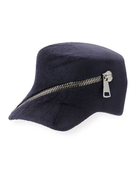 Trilby Velour Baseball Cap w/ Oversized Zip Detail