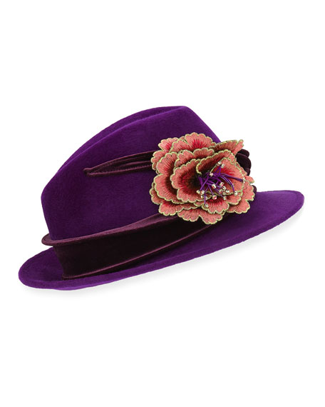 Embroidered Flower Fedora w/ Velvet Band