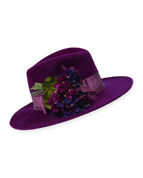 Trilby Hat w/ Flower Detail